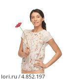Очаровательная девушка в блузке с цветком. Стоковое фото, фотограф Syda Productions / Фотобанк Лори