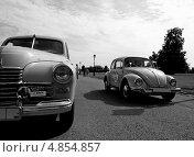 """Две эпохи: ГАЗ М20 """"Победа"""" и Volkswagen Kafer в парке Царицыно на Bosch Moskau Classic Rally 2013. Редакционное фото, фотограф Павел Гуськов / Фотобанк Лори"""