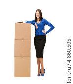 Купить «Молодая офисная сотрудница с корреспонденцией в коробках», фото № 4860505, снято 2 апреля 2011 г. (c) Syda Productions / Фотобанк Лори