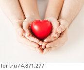 Купить «Красное пластиковое сердце в женских и мужских руках», фото № 4871277, снято 28 марта 2013 г. (c) Syda Productions / Фотобанк Лори