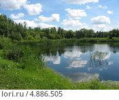 Купить «Летний пейзаж - пруд с отражением облаков», фото № 4886505, снято 11 июля 2013 г. (c) Светлана Ильева (Иванова) / Фотобанк Лори
