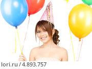 Купить «Счастливая девушка на вечеринке с разноцветными воздушными шарами», фото № 4893757, снято 4 октября 2009 г. (c) Syda Productions / Фотобанк Лори