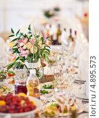 Купить «Сервированный стол», фото № 4895573, снято 23 июня 2012 г. (c) Никончук Алексей / Фотобанк Лори