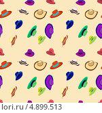 Фон из множества разноцветных шляп. Стоковая иллюстрация, иллюстратор Marina Shipilova / Фотобанк Лори