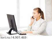 Купить «Счастливая офисная сотрудница работает за компьютером в кабинете», фото № 4901469, снято 1 июня 2013 г. (c) Syda Productions / Фотобанк Лори