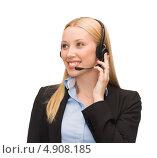 Купить «Успешная деловая женщина в черном костюме отвечает на телефонный звонок с помощью гарнитуры», фото № 4908185, снято 13 июня 2013 г. (c) Syda Productions / Фотобанк Лори