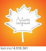 Купить «Фон с осенним листом и местом для текста», иллюстрация № 4918361 (c) Евгения Малахова / Фотобанк Лори