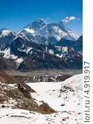 Купить «Эверест, Нупце, Лходзе. Вид с перевала Ренджо Ла», фото № 4919917, снято 8 апреля 2013 г. (c) Оксана Гильман / Фотобанк Лори