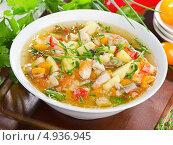 Купить «Тарелка куриного супа с овощами», фото № 4936945, снято 7 августа 2013 г. (c) Tatjana Baibakova / Фотобанк Лори