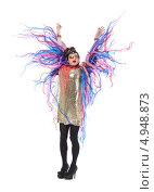 Купить «Актер травести в женском костюме с пестрыми лентами», фото № 4948873, снято 11 августа 2013 г. (c) Discovod / Фотобанк Лори