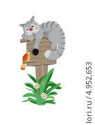 Ленивая кошка лежит на скворечнике и слушает пение птиц. Стоковая иллюстрация, иллюстратор Бутинова Елена / Фотобанк Лори