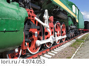 Сцепные дышла и колеса паровоза. Стоковое фото, фотограф Александр Романов / Фотобанк Лори