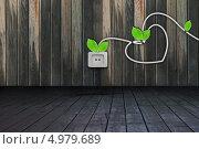 Розетка, шнур с листьями, сердце на деревянной стене в деревянной комнате. Стоковое фото, фотограф O.Guerro / Фотобанк Лори