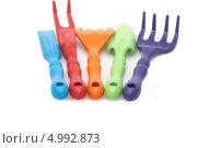 Купить «Набор садовых мини-инструментов», фото № 4992873, снято 27 июля 2013 г. (c) Диана Должикова / Фотобанк Лори