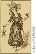 Иллюстрация с девушкой в шляпке. Стоковая иллюстрация, иллюстратор Александра Шкиндерова / Фотобанк Лори