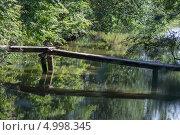 Купить «Деревянный мостик через залив на реке», фото № 4998345, снято 8 августа 2013 г. (c) Евгений Андреев / Фотобанк Лори