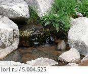 Вода, текущая из-под камней, родник. Стоковое фото, фотограф Владимир Мигонькин / Фотобанк Лори
