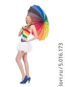 Купить «Женщина с раскрытым радужным зонтом», фото № 5016173, снято 29 июня 2013 г. (c) Elnur / Фотобанк Лори