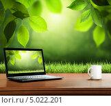 Купить «Летний фон с деревянным столом и ноутбуком», фото № 5022201, снято 5 ноября 2009 г. (c) Iakov Kalinin / Фотобанк Лори