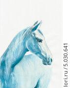 Купить «Портрет голубой лошади. Рисунок акварелью», иллюстрация № 5030641 (c) Вероника Суровцева / Фотобанк Лори