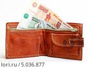 Купить «Кожаный кошелек с деньгами», эксклюзивное фото № 5036877, снято 5 сентября 2013 г. (c) Яна Королёва / Фотобанк Лори
