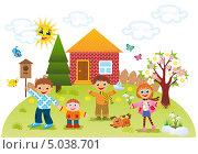 Купить «Дети играют во дворе весной», иллюстрация № 5038701 (c) ivolodina / Фотобанк Лори