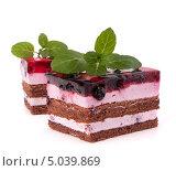 Купить «Два пирожных на белом фоне», фото № 5039869, снято 3 ноября 2011 г. (c) Natalja Stotika / Фотобанк Лори
