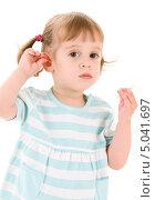 Купить «Маленькая девочка с хвостиками в бело-голубом платье», фото № 5041697, снято 20 июня 2009 г. (c) Syda Productions / Фотобанк Лори