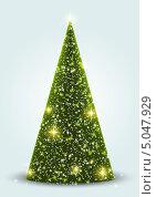Рождественская открытка с горящей огнями елкой. Стоковая иллюстрация, иллюстратор Евгения Малахова / Фотобанк Лори