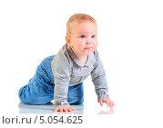 Купить «Годовалая девочка стоит на четвереньках на полу в студии», фото № 5054625, снято 26 октября 2012 г. (c) Андрей Армягов / Фотобанк Лори