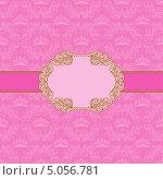 Винтажная рамочка для открытки на розовом фоне. Стоковая иллюстрация, иллюстратор Юлия Гончарова / Фотобанк Лори