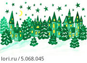 Купить «Рождественская - новогодняя открытка, Зимний пейзаж в бирюзовых тонах, акварель», иллюстрация № 5068045 (c) ИВА Афонская / Фотобанк Лори