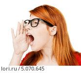 Купить «Очаровательная веселая девушка в очках», фото № 5070645, снято 10 октября 2009 г. (c) Syda Productions / Фотобанк Лори