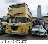 Купить «Двухэтажный автобус Buessing Omnibus D2U и автомобиль Alfa Romeo GT 1300 Junior», фото № 5072277, снято 11 мая 2013 г. (c) Sergey Kohl / Фотобанк Лори