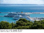 Купить «Круизный лайнер в порту Пальма-де-Майорки», фото № 5099537, снято 28 октября 2012 г. (c) Татьяна Кахилл / Фотобанк Лори