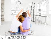 Купить «Пара планирует дизайн новой квартиры», фото № 5105753, снято 1 октября 2013 г. (c) Сергей Петерман / Фотобанк Лори