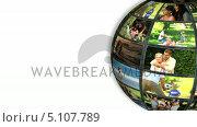 Купить «Turning ball showing families on holidays», видеоролик № 5107789, снято 23 августа 2019 г. (c) Wavebreak Media / Фотобанк Лори