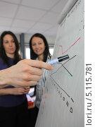 Купить «Рука человека, указывающего на графики на флипчарте», фото № 5115781, снято 13 февраля 2010 г. (c) Phovoir Images / Фотобанк Лори