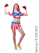 Купить «Девушка в боксерской форме и перчатках на белом фоне», фото № 5131913, снято 29 июня 2013 г. (c) Elnur / Фотобанк Лори