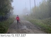 Девочка идёт в тумане по сельской дорооге в школу. Стоковое фото, фотограф Александр Соловьев / Фотобанк Лори