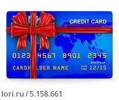 Купить «Кредитная карта, перевязанная красной лентой с бантом, изолированно на белом фоне», иллюстрация № 5158661 (c) Ильин Сергей / Фотобанк Лори