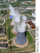 Охладительные башни (градирни) теплоэлектростанции 22, вид с воздуха (2013 год). Стоковое фото, фотограф Михеев Алексей / Фотобанк Лори