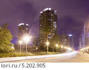 Купить «Ночной вид на район небоскребов. Барселона. Испания», фото № 5202905, снято 17 мая 2013 г. (c) Яков Филимонов / Фотобанк Лори