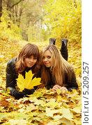 Купить «Две подруги лежат в осенней листве в парке», фото № 5209257, снято 16 октября 2010 г. (c) Юлия Маливанчук / Фотобанк Лори
