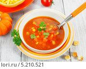 Купить «Суп с кукурузой, тыквой и перцем», фото № 5210521, снято 26 октября 2013 г. (c) Надежда Мишкова / Фотобанк Лори