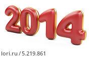 Купить «Трехмерные 2014 красные числа с золотым обрамлением», иллюстрация № 5219861 (c) Маринченко Александр / Фотобанк Лори