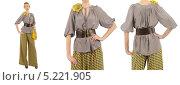 Купить «Девушка в стильной серой блузке с бантом и желтых брюках», фото № 5221905, снято 31 марта 2012 г. (c) Elnur / Фотобанк Лори