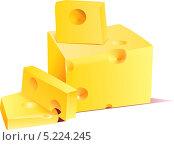 Кусочки твердого сыра нарезаны и лежат на столе. Стоковая иллюстрация, иллюстратор Yana Geruk / Фотобанк Лори