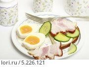Купить «Вареное яйцо и сандвич с огурцом и беконом на тарелке», эксклюзивное фото № 5226121, снято 24 октября 2013 г. (c) Яна Королёва / Фотобанк Лори