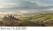 Купить «Италия. Сельская Тоскана. Пригород Пьенцы. Вилла Бельведере. Утренний туман (Podere Belvedere, Toscana)», фото № 5229081, снято 30 сентября 2013 г. (c) Виктория Катьянова / Фотобанк Лори